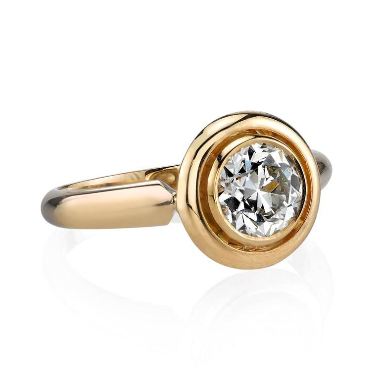 1.02ctw I/VS2 EGL certified old European cut diamond set in a handcrafted 18k yellow gold mounting.   Ring is currently a size 6 and can be sized to fit.  Our jewelry is made locally in Los Angeles and most pieces are made to order. For these