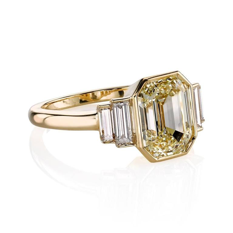 3 06 Carat Art Deco Emerald Cut Engagement Ring at 1stdibs