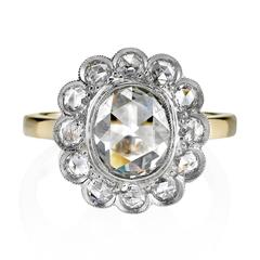 Rose Cut Diamond Gold and Platinum Ring