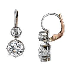 Old European and Old Mine Cut Diamond rose gold platinum Earrings