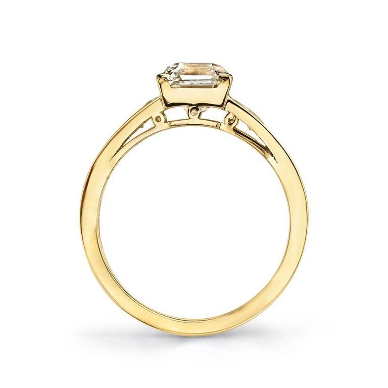 Asscher Cut Diamond Yellow Gold Engagement Ring 3