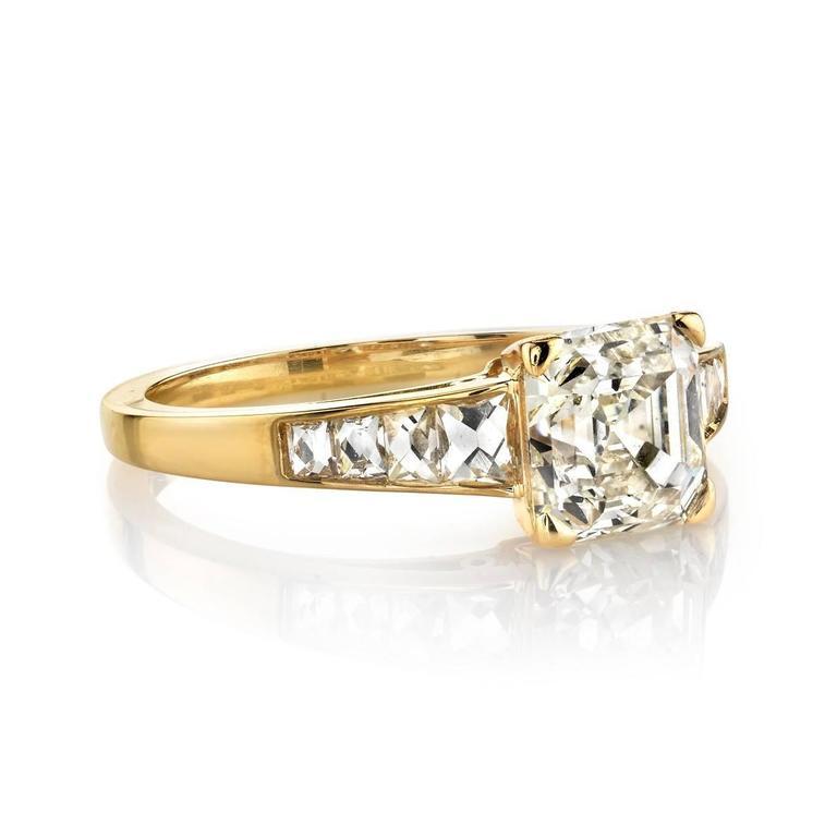 Asscher Cut Diamond Yellow Gold Engagement Ring 2