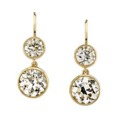Old European Cut Diamond Yellow Gold Double Drop Earrings