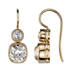 Cushion Cut Diamond Gold Double Drop Earrings