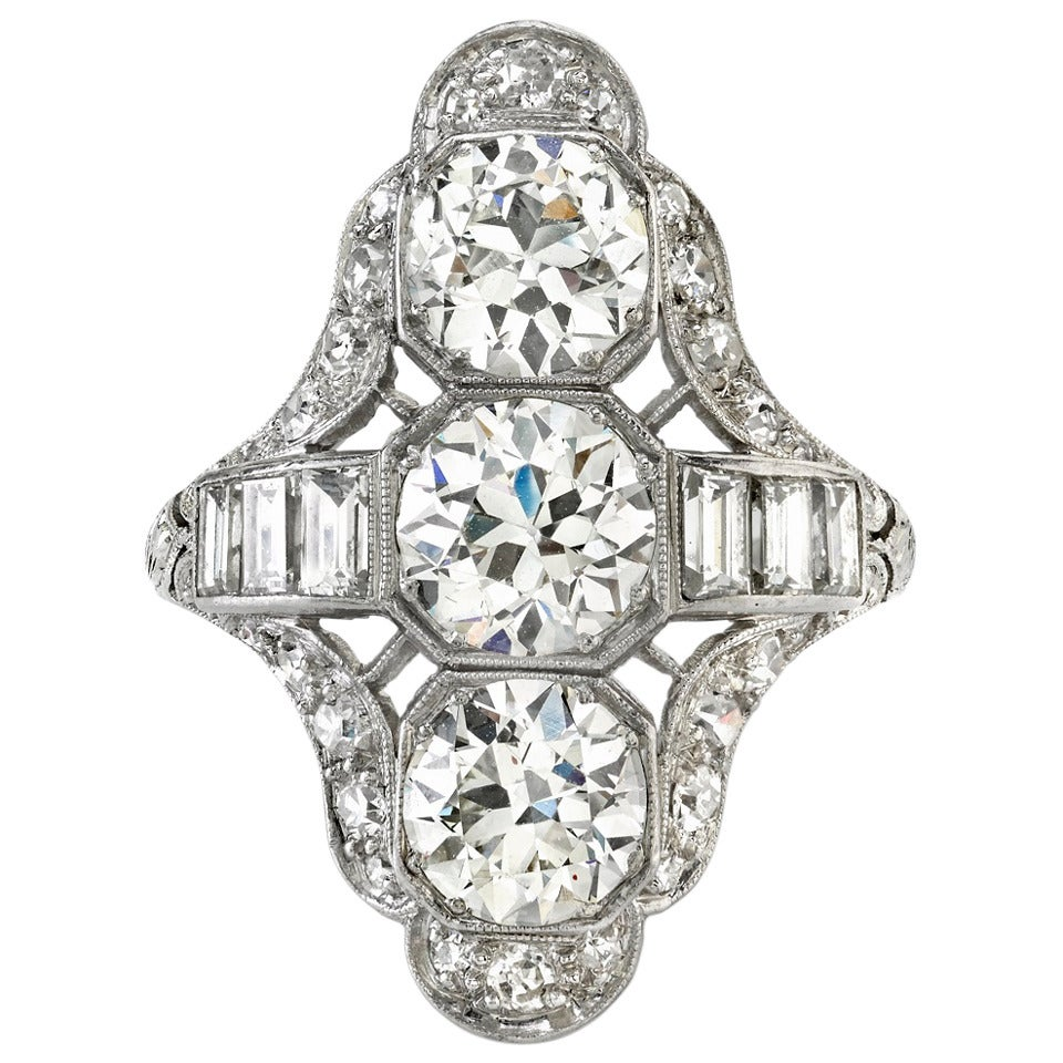 Art Deco Three Stone  Diamond Platinum Ring For Sale