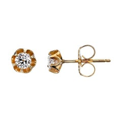 Diamond Buttercup Stud Earrings in Yellow Gold