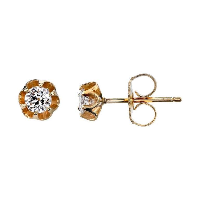 Diamond Buttercup Stud Earrings in Yellow Gold