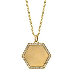 "Handcrafted Yellow Gold Hexagon Diamond Framed Pendant with 27"" Gold Chain"