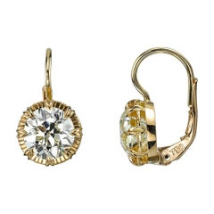 3.88 Carat Old European Cut Diamond Drop Earrings