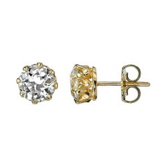 2.49 Carat Old European Cut Diamond Studs