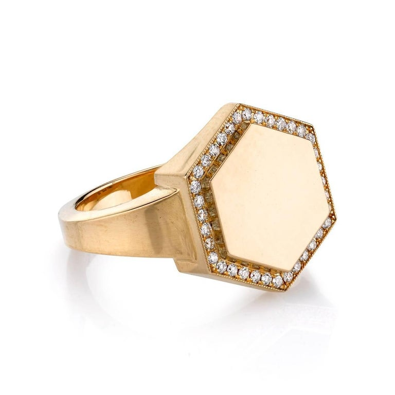 Vintage inspired 18k yellow gold hexagon signet ring with 0.15ctw old European cut diamond frame. A modern take on the classic signet ring. The Zoe ring includes engraving of up to three letters, please call to specify.