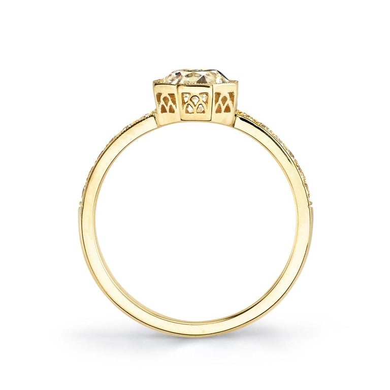 Octagonal Old European Cut Diamond Engagement Ring In New Condition For Sale In Los Angeles, CA