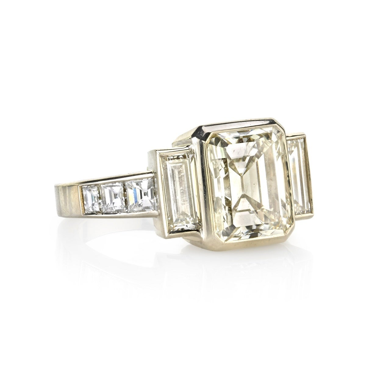 Art Deco 3.34 Carat Step Cut Diamond Gold Engagement Ring For Sale