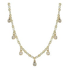Seven Stone Diamond Gold Necklace