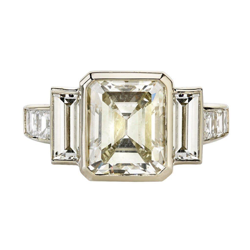 3.34 Carat Step Cut Diamond Gold Engagement Ring For Sale