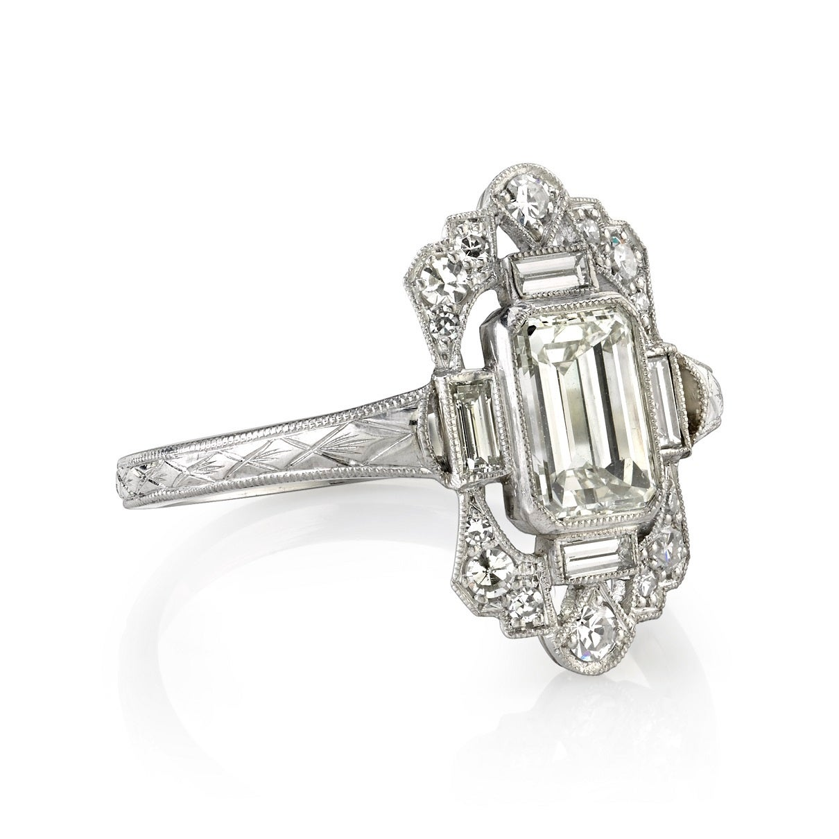 intricate emerald cut engagement ring at 1stdibs