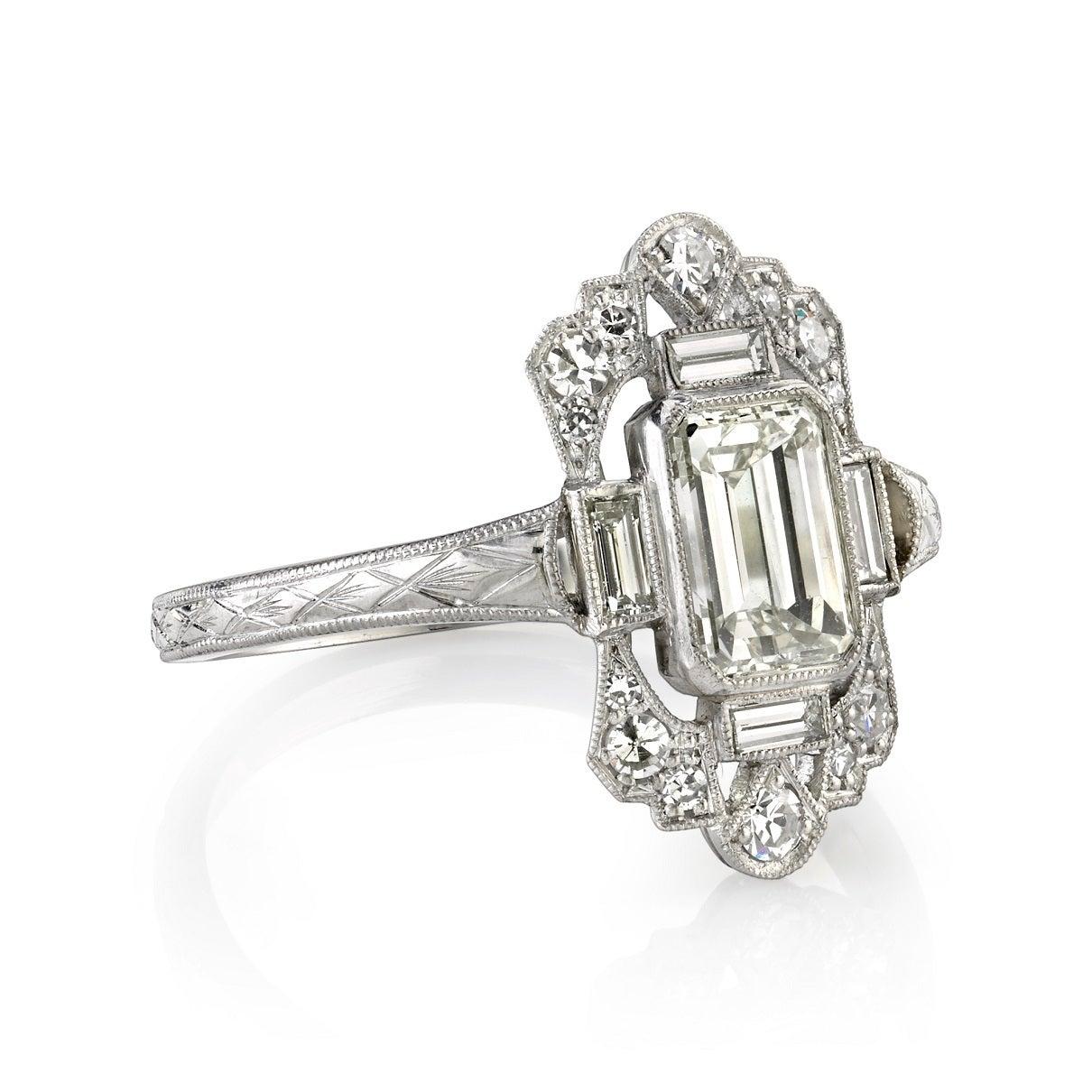 intricate emerald cut diamond engagement ring at 1stdibs