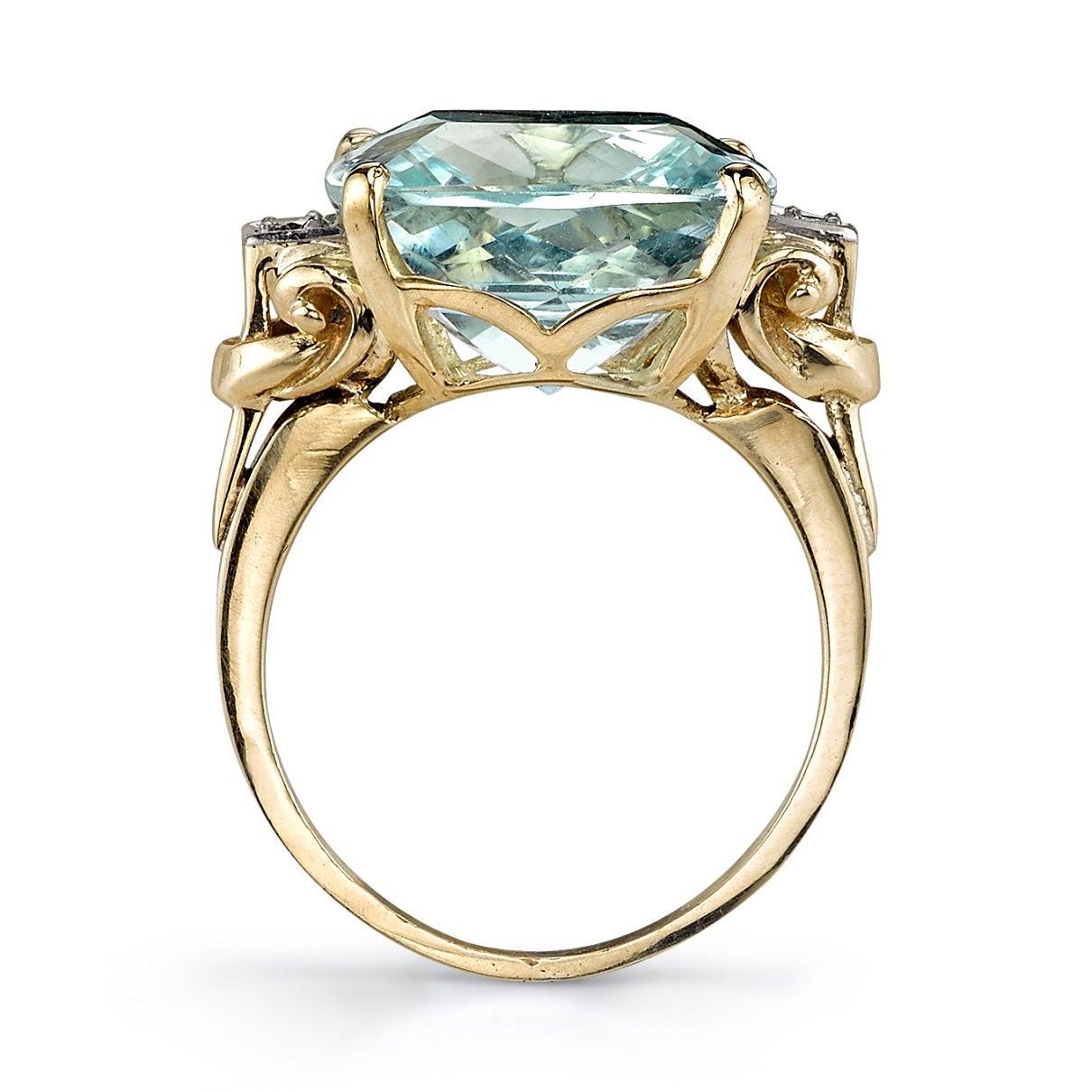 retro 10 36 carat aquamarine gold fashion ring at 1stdibs
