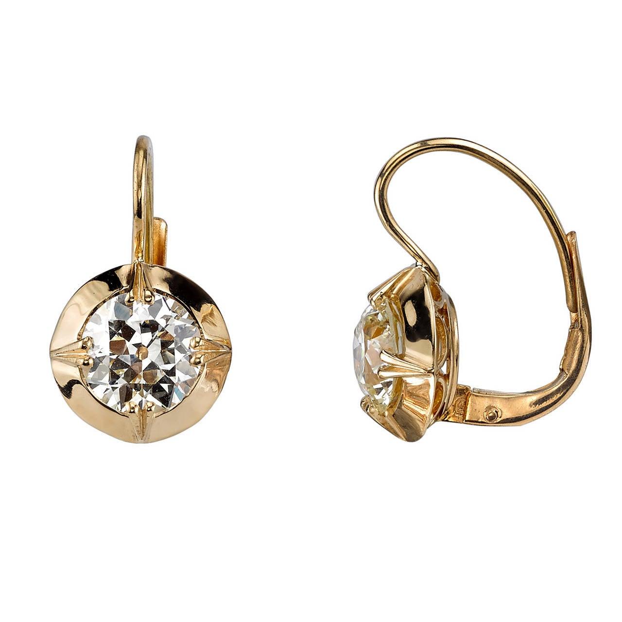 2.46 Carats Old European Cut Diamond Gold Dangle Earrings