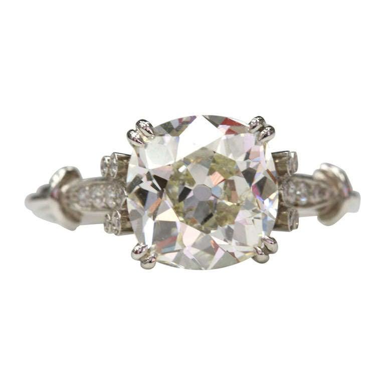 Antique Cushion Cut Diamond Engagement Ring