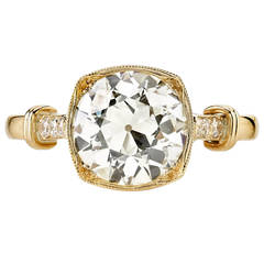 2.04 Carat GIA Cert Old European Cut Diamond Gold Engagement Ring