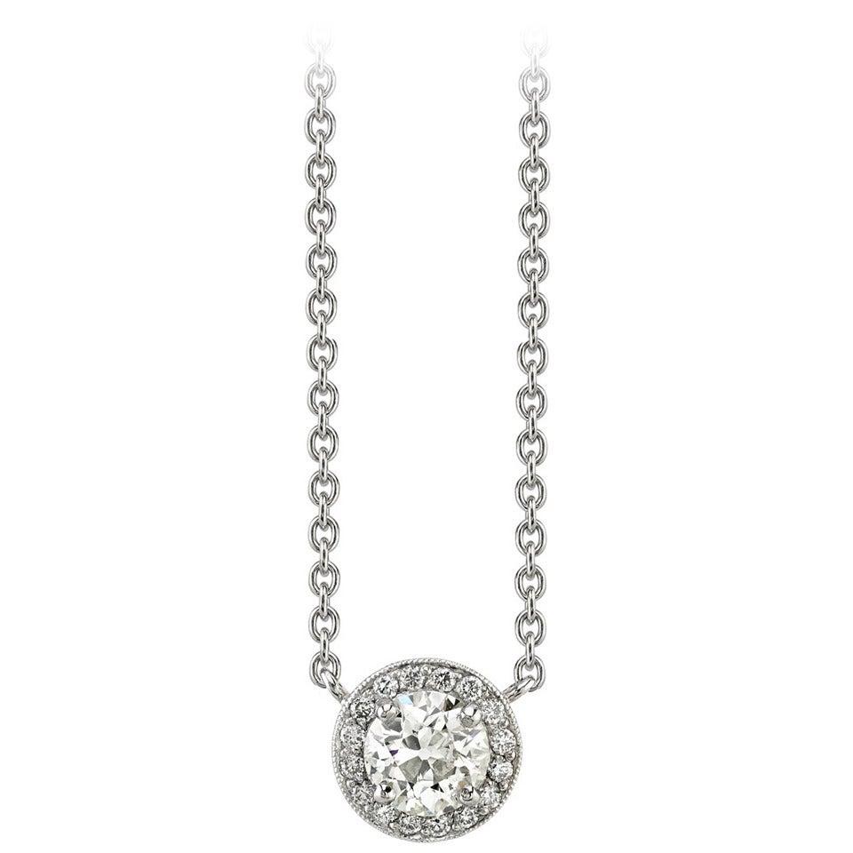 Diamond Pave Platinum Surround Drop Necklace