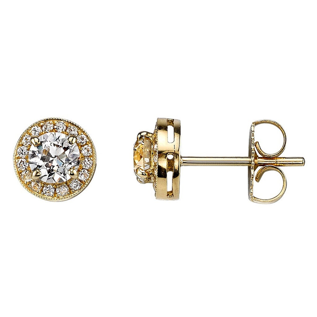 Diamond Gold Surround Stud Earrings For Sale