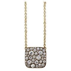 Diamond Gold Cobblestone Square Necklace