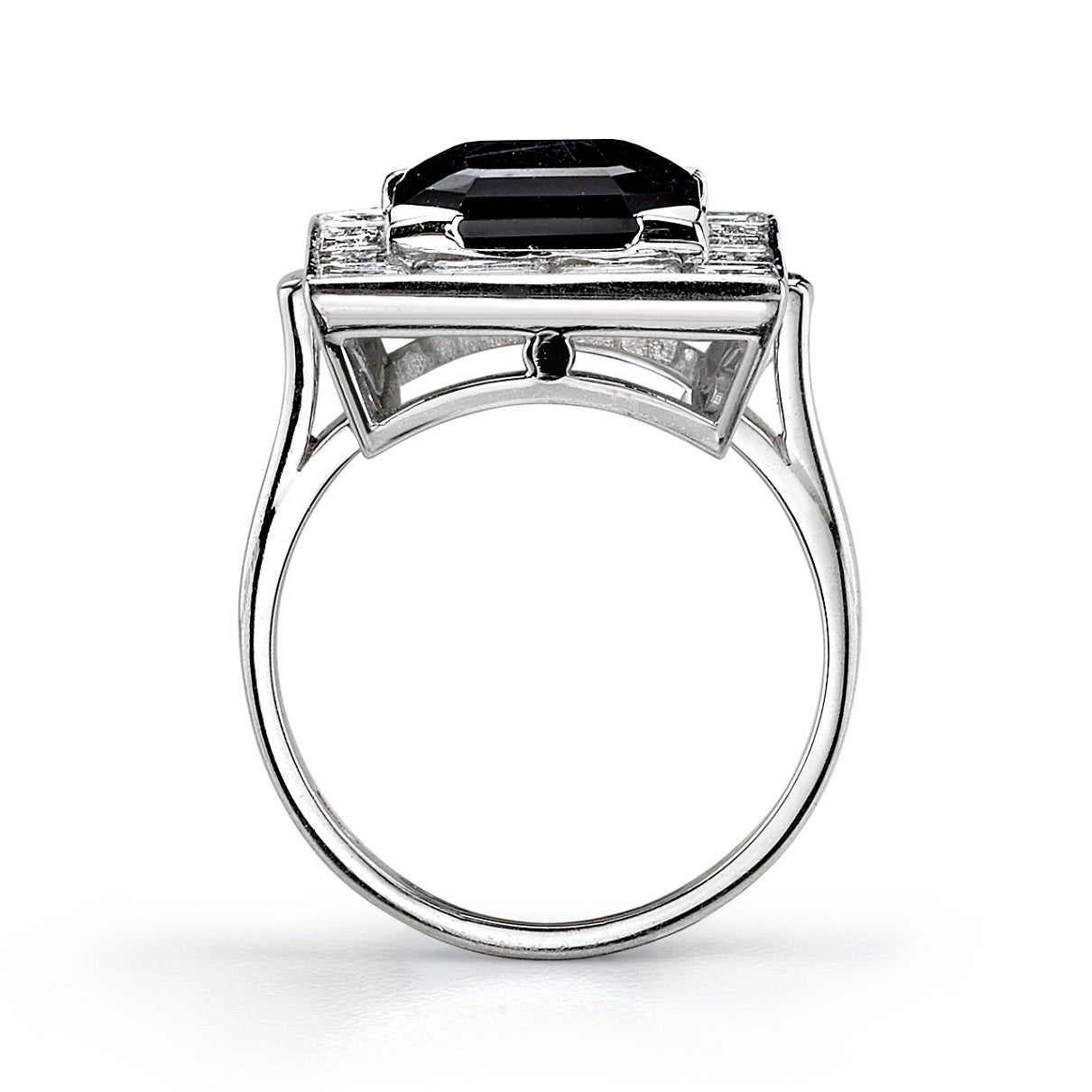 Onyx Diamond Platinum Cocktail Ring 3