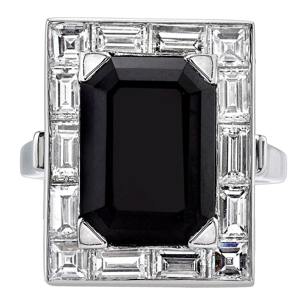 Onyx Diamond Platinum Cocktail Ring 1