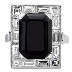 Onyx Diamond Platinum Cocktail Ring