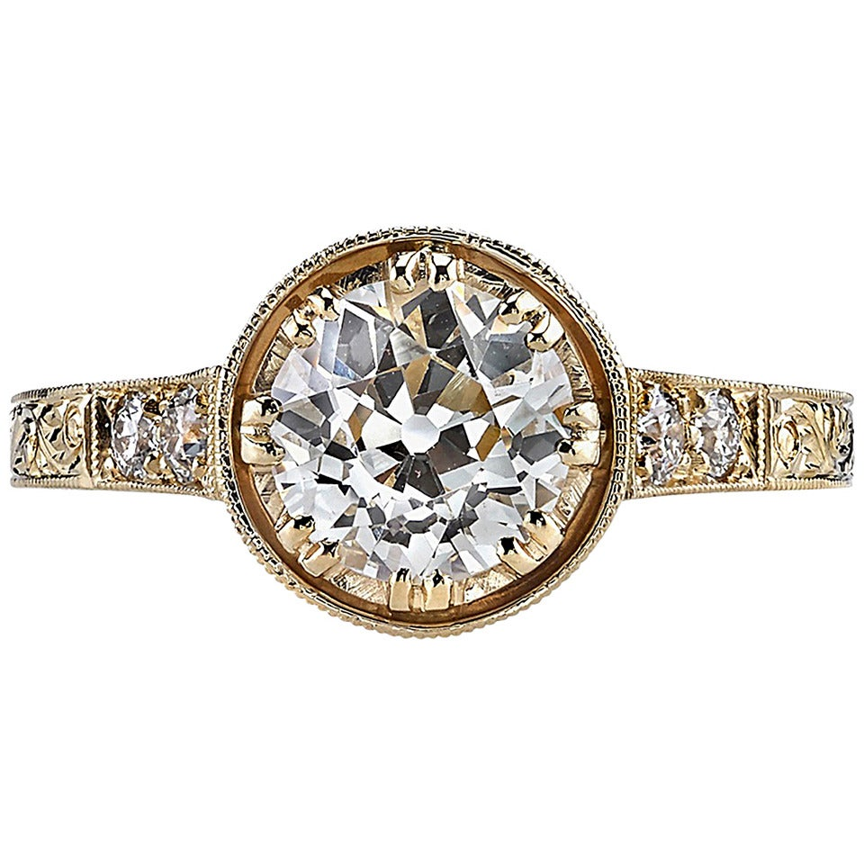 1.20 Carat Old European Cut Diamond Set in a Handcrafted Gold Engagement Ring