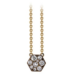 Handcrafted Yellow Gold Hexagon Cobblestone Diamond Pendant Necklace