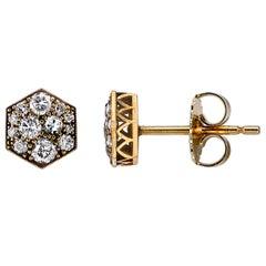 0.60 Carat Mixed Cut Diamonds Set in Yellow Gold Hexagonal Cobblestone Earrings