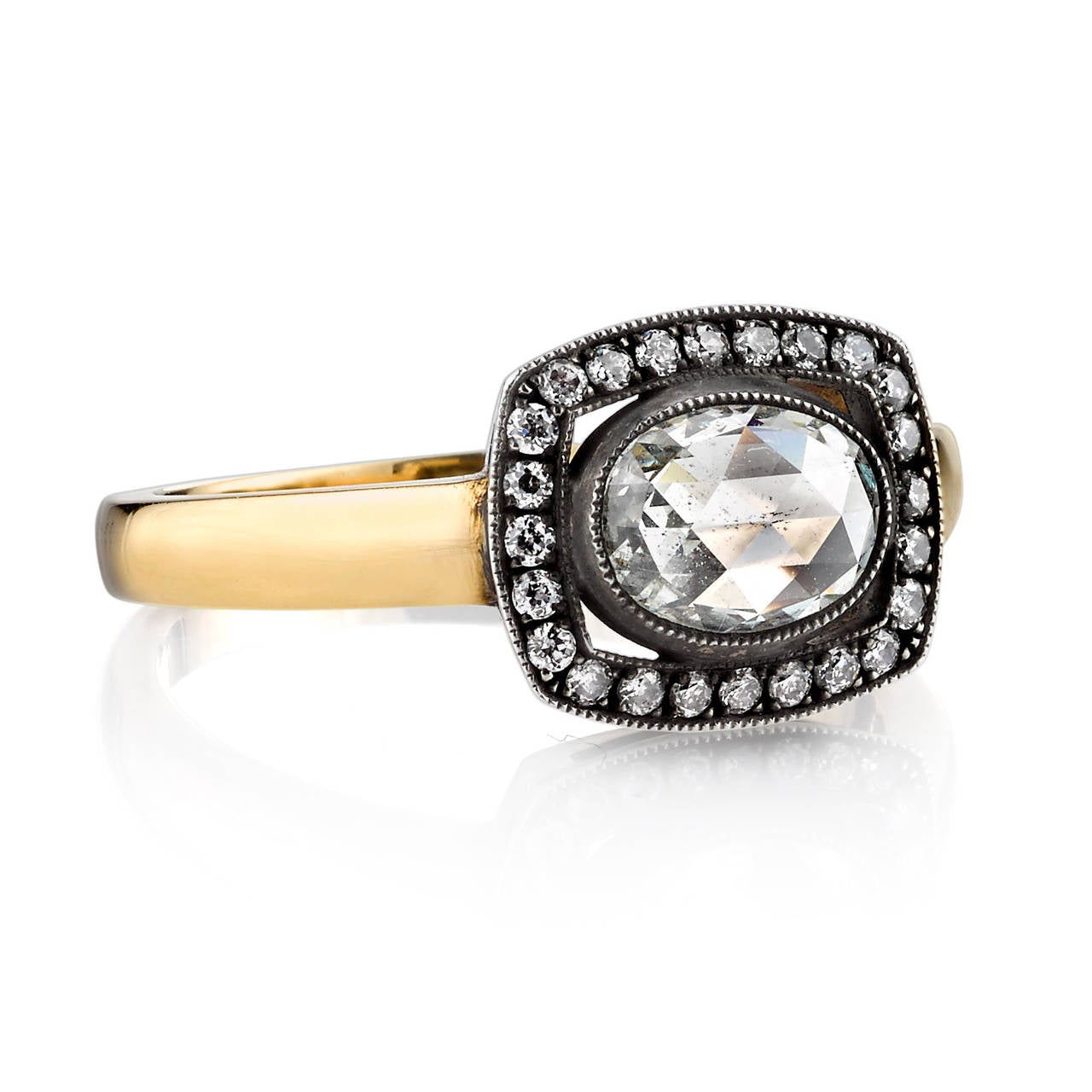 1 05 Carat Rose Cut Diamond Silver Gold Engagement Ring at 1stdibs