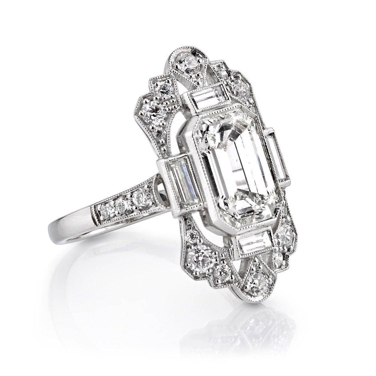 2 03 carat cert emerald cut platinum