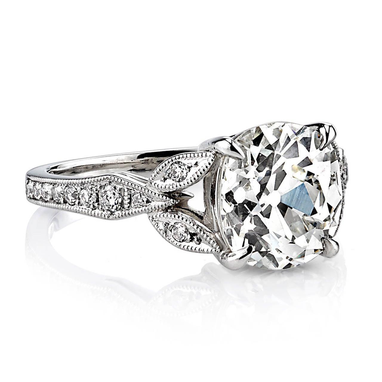 2 92 Carat GIA Cert Cushion Cut Diamond Platinum Engagement Ring at 1stdibs