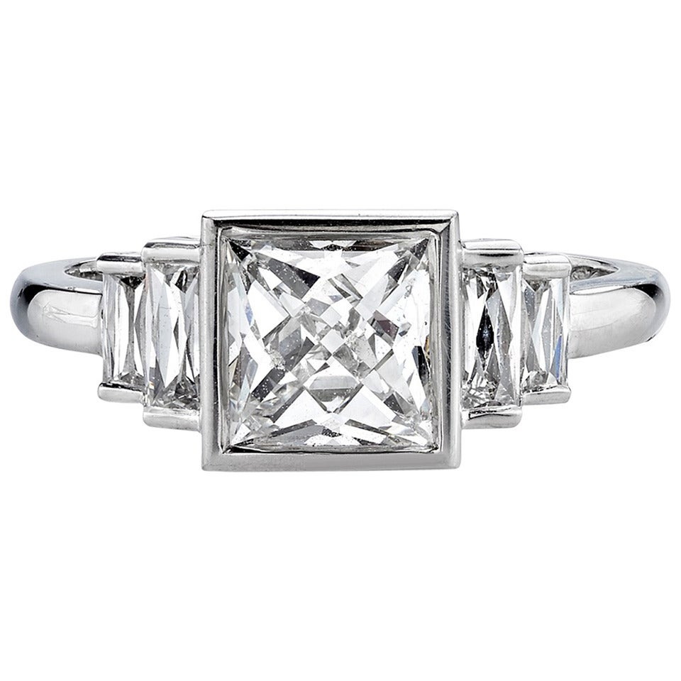 1.57 Carat French Cut Diamond Platinum Engagement Ring