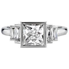 1.57 Carat French Cut Diamond Platinum Engagement Ring