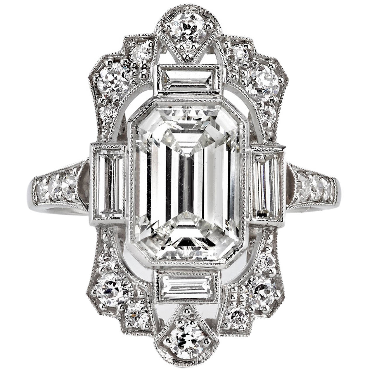2 03 Carat GIA Cert Emerald Cut Diamond Platinum Engagement Ring For Sale at
