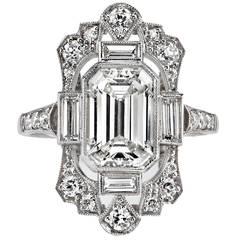2.03 Carat GIA Cert Emerald Cut Diamond Platinum Engagement Ring