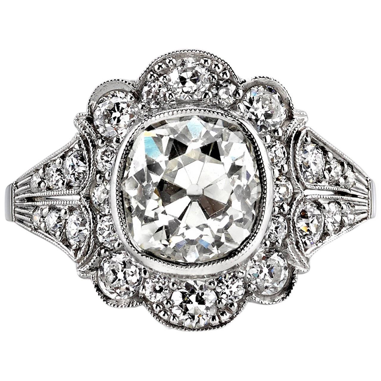 Two Platinum: 2.40 Carat Cushion Cut Diamond Platinum Engagement Ring At