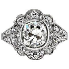 2.40 Carat Cushion Cut Diamond Platinum Engagement Ring