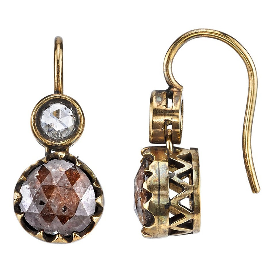 Rustic Diamond: Rustic Diamond Gold Dangle Earrings For Sale At 1stdibs