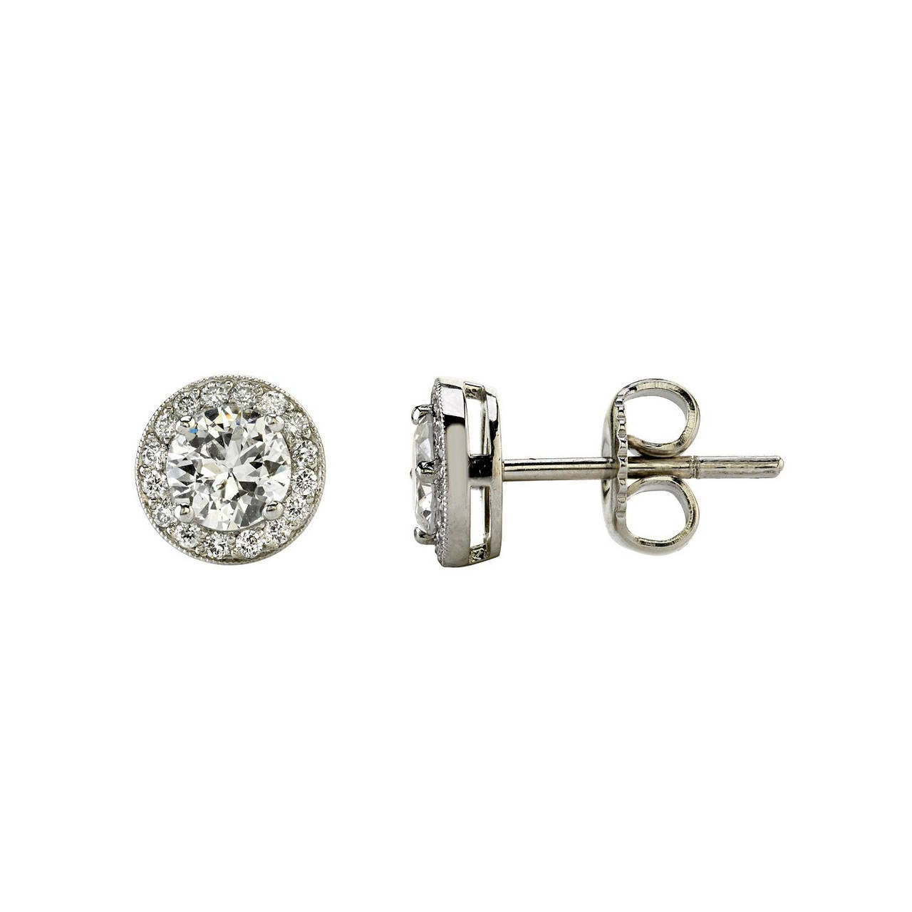 Old European Cut Diamond Platinum Stud Earrings For Sale
