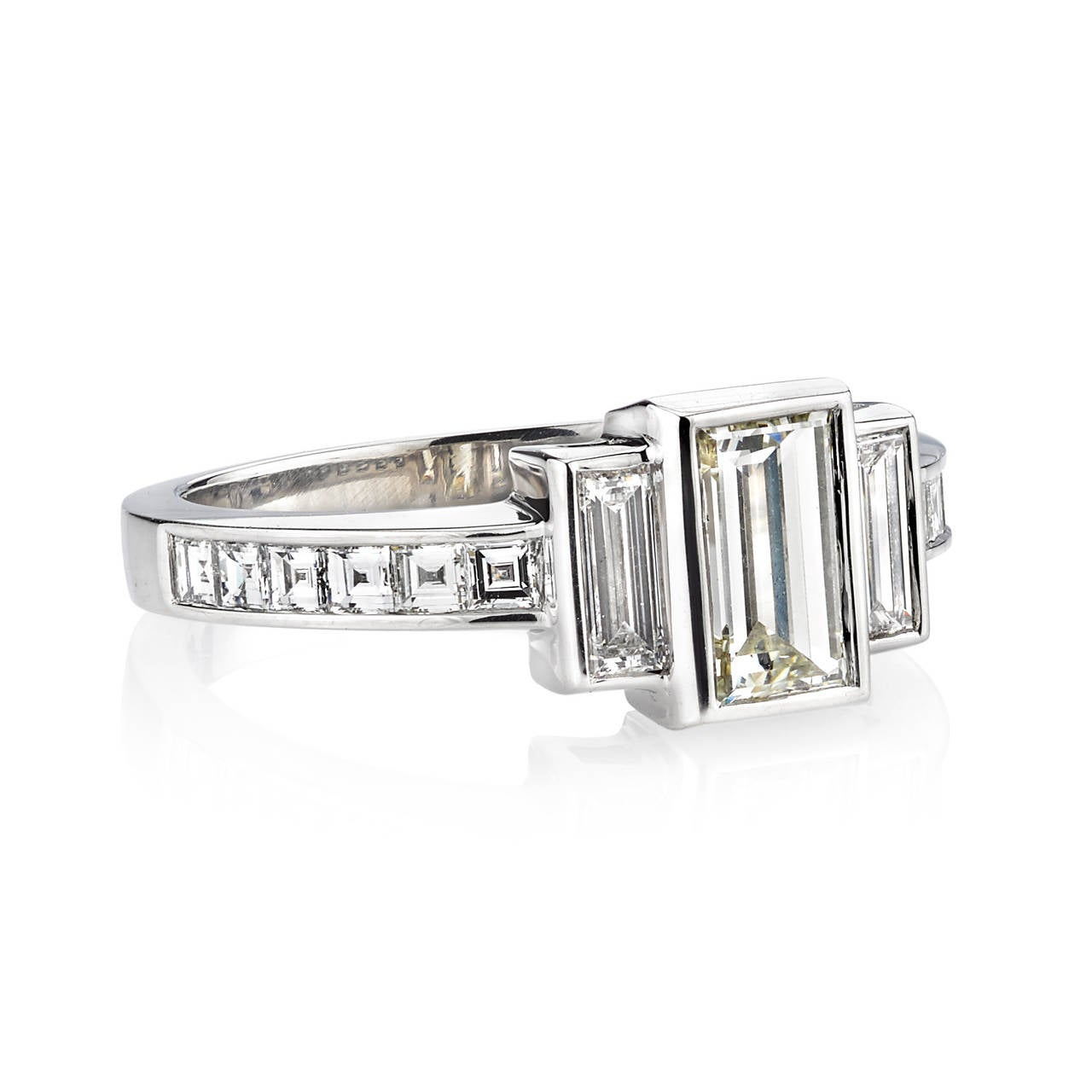 Baguette Emerald Cut Diamond Platinum Engagement Ring For Sale at 1stdibs