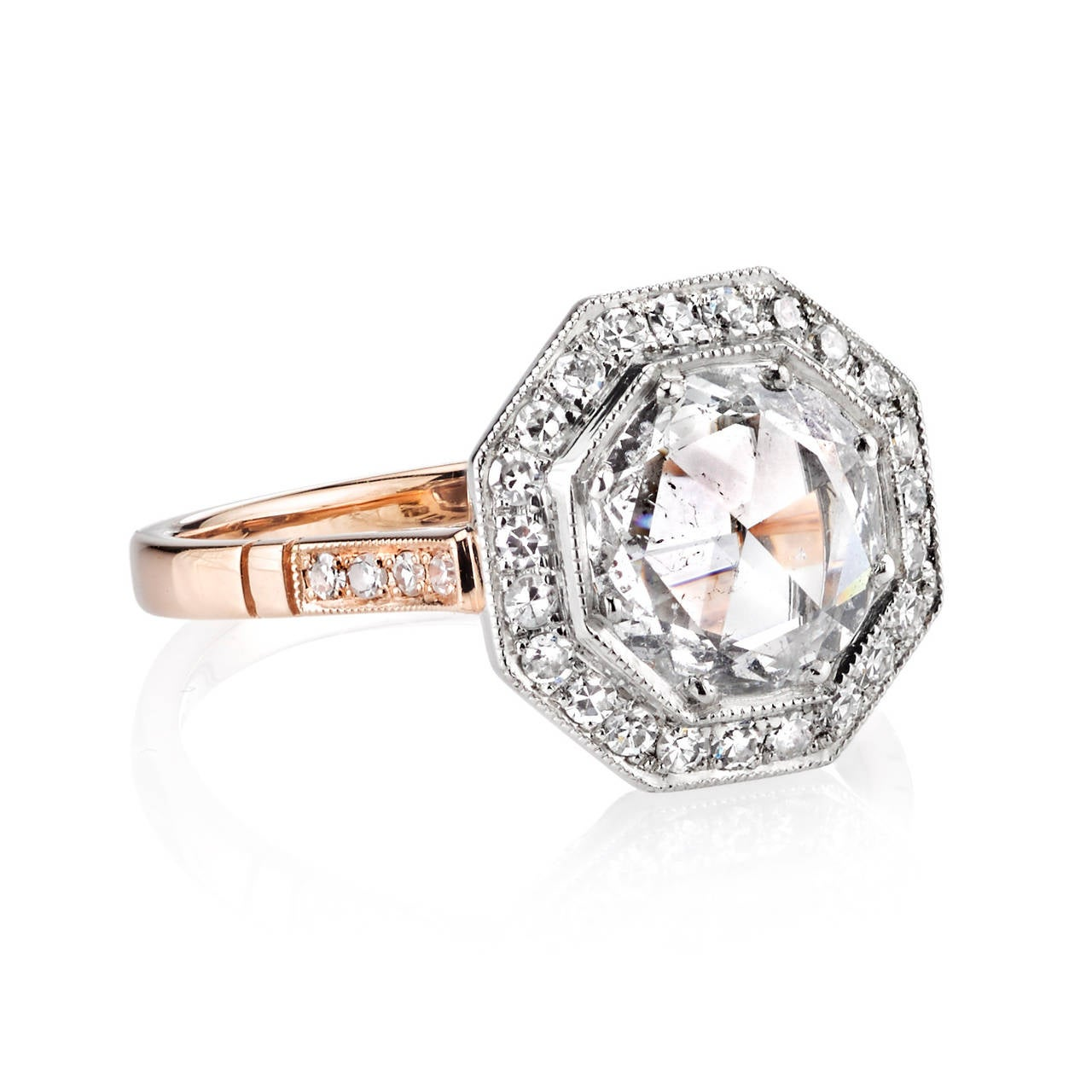 Beautiful Rose Cut Diamond Two Color Gold Platinum Engagement Ring At 1stdibs