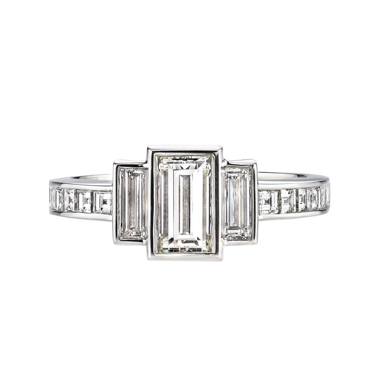 baguette emerald cut diamond platinum engagement ring for