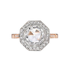 Beautiful Rose Cut Diamond Two Color Gold Platinum Engagement Ring