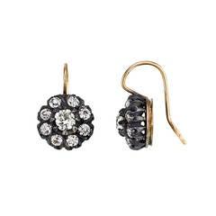 Old European Cut Diamond Silver Gold Cluster Earrings